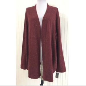 Karen Scott NWT XL Cardigan Sweater Burgundy L/S
